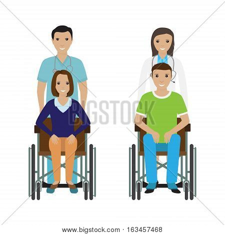 Disability people in wheelchair with a hospital stuff. Disabled man and woman with a doctor and orderly. Flat style vector illustration.