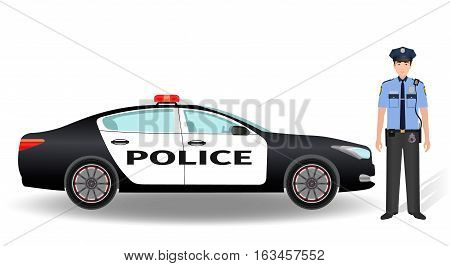 Police patrol car and policeman officer isolated on white background. Flat style vector illustration.
