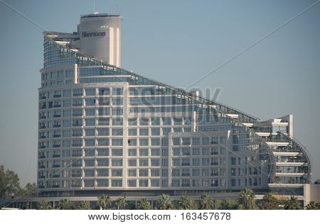 ADANA/TURKEY-DECEMBER 9, 2016:  Sheraton Hotel at the riverside of Seyhan River of Adana. December 9, 2016-Adana/Turkey