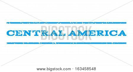 Central America watermark stamp. Text caption between horizontal parallel lines with grunge design style. Rubber seal stamp with dust texture. Vector blue color ink imprint on a white background.