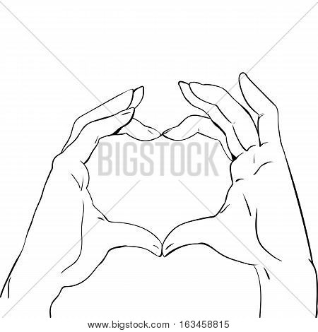 Hands in heart form, sketch black and white vector illustration Heart shape hand gesture isolated on white
