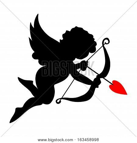 valentine cupid icon with arrow and wings. Vector.