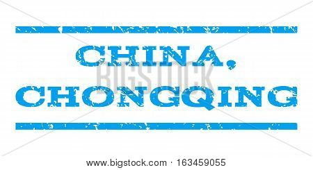 China, Chongqing watermark stamp. Text tag between horizontal parallel lines with grunge design style. Rubber seal stamp with unclean texture. Vector blue color ink imprint on a white background.