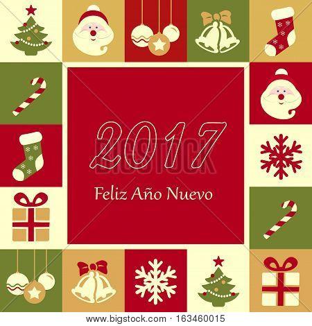 Feliz Año Nuevo 2017 spanish. Happy New Year.
