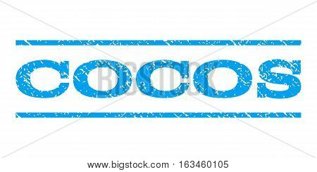 Cocos watermark stamp. Text tag between horizontal parallel lines with grunge design style. Rubber seal stamp with scratched texture. Vector blue color ink imprint on a white background.