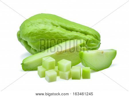 fresh chayote isolated the on white background