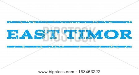 East Timor watermark stamp. Text caption between horizontal parallel lines with grunge design style. Rubber seal stamp with scratched texture. Vector blue color ink imprint on a white background.