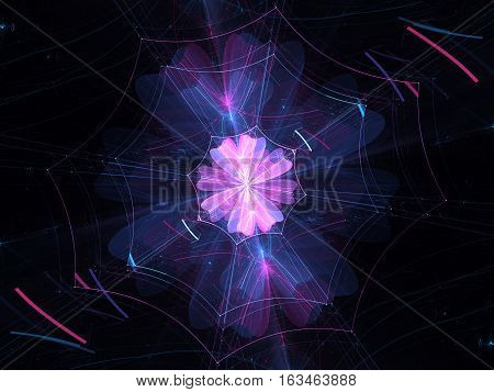 Colorful glowing web connection in cyberspace computer generated abstract background 3D render