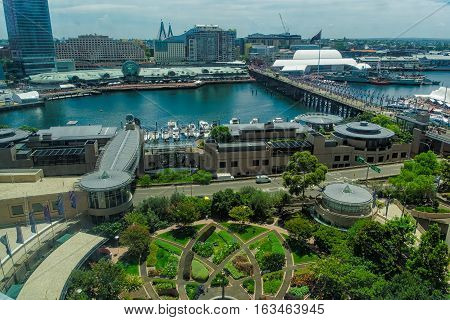 Darling Harbour Sydney Australia .DEC 30,2016 Darling Harbour is a harbour adjacent to the city centre of Sydney, New South Wales, Australia.