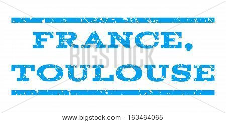 France, Toulouse watermark stamp. Text tag between horizontal parallel lines with grunge design style. Rubber seal stamp with dust texture. Vector blue color ink imprint on a white background.