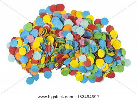 Heap of festive paper circular colorful confetti isolated on white. Clipping path included