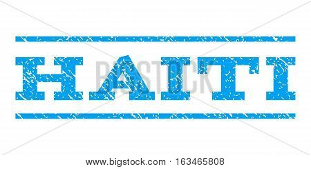 Haiti watermark stamp. Text tag between horizontal parallel lines with grunge design style. Rubber seal stamp with dust texture. Vector blue color ink imprint on a white background.