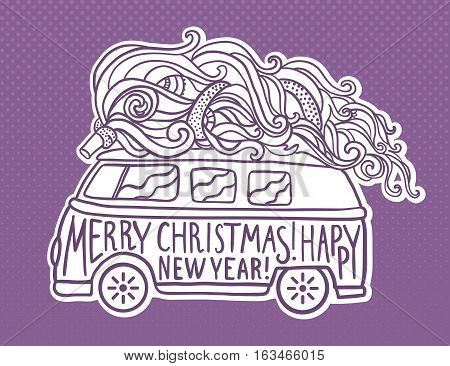Hippie style car with tree. Ornamental retro background, Hippy color vector illustration. Retro 1960s, 80s, 70s. Greeting card Christmas and New Year