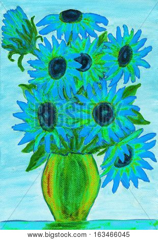 Bouquet of light blue flowers illustration painting