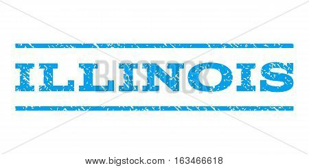 Illinois watermark stamp. Text tag between horizontal parallel lines with grunge design style. Rubber seal stamp with dirty texture. Vector blue color ink imprint on a white background.