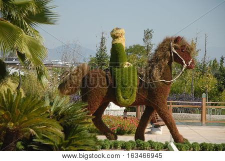 ANTALYA/TURKEY-OCTOBER 18, 2016: Topiary horseman  at the EXPO 2016 Antalya area. October 18, 2016-Antalya/Turkey