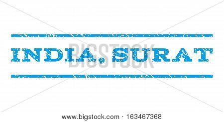 India, Surat watermark stamp. Text caption between horizontal parallel lines with grunge design style. Rubber seal stamp with scratched texture. Vector blue color ink imprint on a white background.