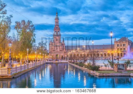 North tower on Plaza de Espana in the evening in Seville Andalusia Spain