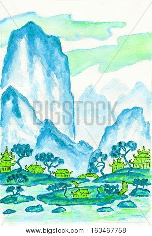 Hand painted picture - landscape with mountains in blue colours watercolours in traditions of old Chinese painting mixed with individual style.