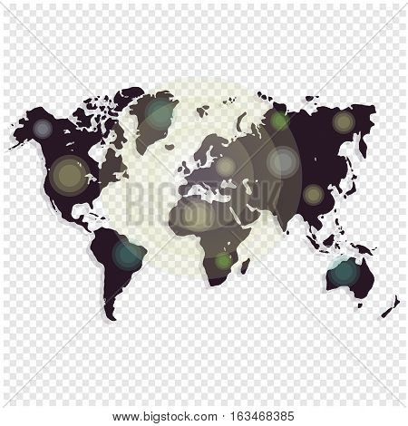 Worldmap template for website, design, cover, annual reports, infographics. Vector illustration. Black Map Vector.
