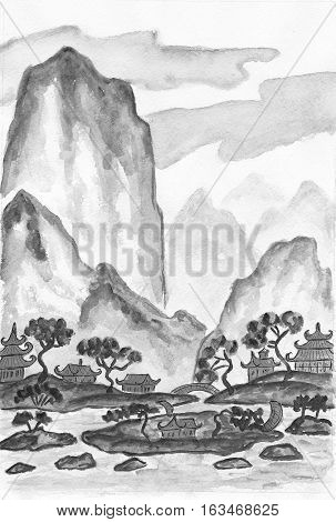 Hand painted picture - landscape with mountains in black and white colours watercolours in traditions of old Chinese painting.