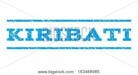 Kiribati watermark stamp. Text tag between horizontal parallel lines with grunge design style. Rubber seal stamp with scratched texture. Vector blue color ink imprint on a white background.