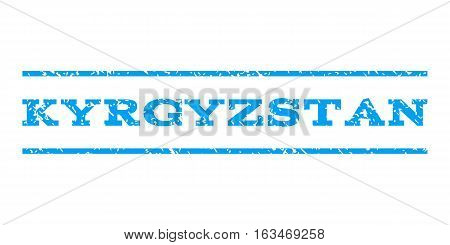Kyrgyzstan watermark stamp. Text caption between horizontal parallel lines with grunge design style. Rubber seal stamp with dirty texture. Vector blue color ink imprint on a white background.