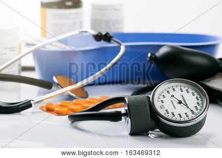 medical tools and equipment - closeup of blood pressure meter