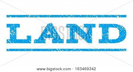 Land watermark stamp. Text tag between horizontal parallel lines with grunge design style. Rubber seal stamp with scratched texture. Vector blue color ink imprint on a white background.