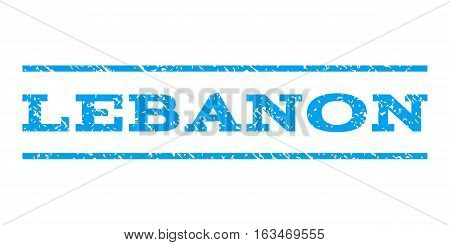 Lebanon watermark stamp. Text caption between horizontal parallel lines with grunge design style. Rubber seal stamp with scratched texture. Vector blue color ink imprint on a white background.