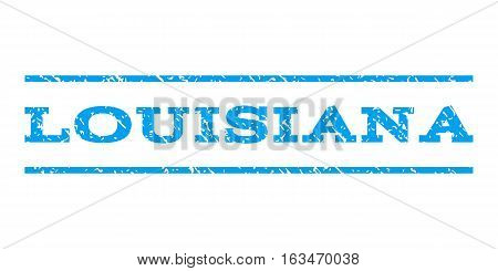 Louisiana watermark stamp. Text tag between horizontal parallel lines with grunge design style. Rubber seal stamp with scratched texture. Vector blue color ink imprint on a white background.
