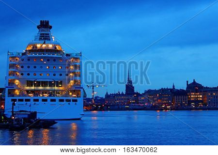 Cruise ship and cityscape of Stockholm, Sweden