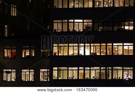 Windows of the multi-storey office building in Stockholm, Sweden