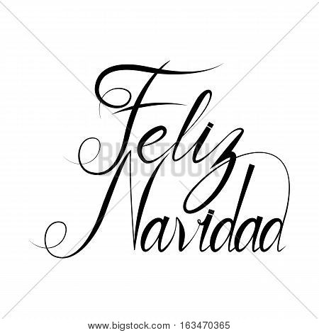 Feliz Navidad text design template with typography on white grunge paper texture. Retro letterpress poster for Merry Christmas