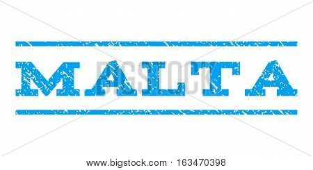 Malta watermark stamp. Text caption between horizontal parallel lines with grunge design style. Rubber seal stamp with dirty texture. Vector blue color ink imprint on a white background.