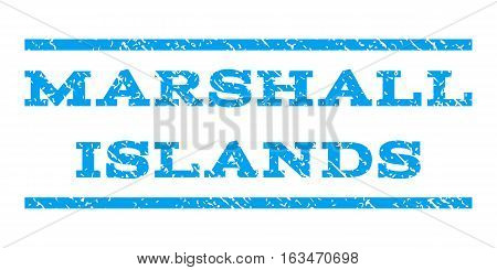 Marshall Islands watermark stamp. Text caption between horizontal parallel lines with grunge design style. Rubber seal stamp with dirty texture. Vector blue color ink imprint on a white background.