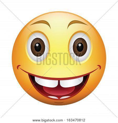 Cartoon happy smiley. Color yellow emoticon illustration. Vector