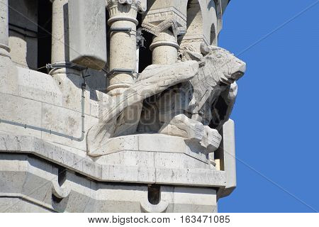 PARIS FRANCE OCT 17: Gargoyle of the Basilica of the Sacred Heart of Paris is a Roman Catholic church and minor basilica, dedicated to the Sacred Heart of Jesus, in Paris France oct, 17 2014