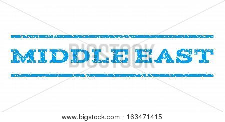 Middle East watermark stamp. Text tag between horizontal parallel lines with grunge design style. Rubber seal stamp with unclean texture. Vector blue color ink imprint on a white background.
