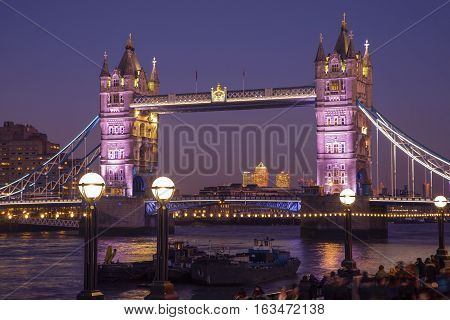 LONDON, UK - DECEMBER 29TH 2016: A view of the magnificent Tower Bridge in London UK, on 29th December 2016.