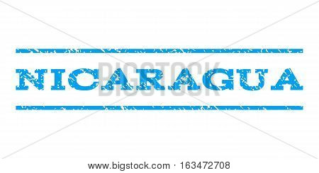 Nicaragua watermark stamp. Text tag between horizontal parallel lines with grunge design style. Rubber seal stamp with scratched texture. Vector blue color ink imprint on a white background.