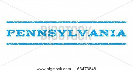 Pennsylvania watermark stamp. Text tag between horizontal parallel lines with grunge design style. Rubber seal stamp with scratched texture. Vector blue color ink imprint on a white background.