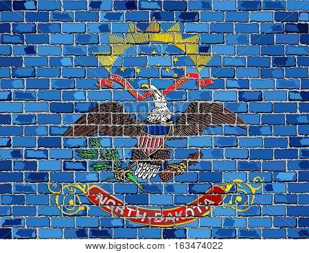 Flag of North Dakota on a brick wall with effect - Illustration,