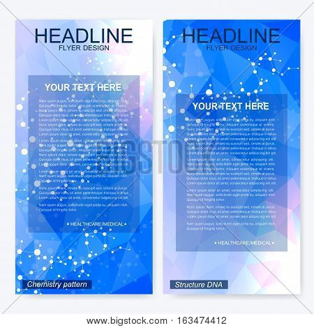 Leaflet flyer layout. Magazine cover corporate identity template. Science and technology design, structure DNA, chemistry, medical background, business and website templates. Vector illustration,