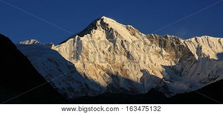 Sixth highest mountain of the world. Snow capped Cho Oyu view from Gokyo.