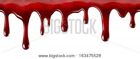 Blood liquid dripping down, on a white background. 3D illustration.