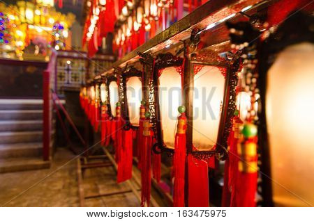 Chinese lanterns at the Man Mo temple in Hong Kong