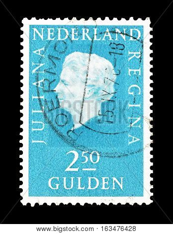 NETHERLANDS- CIRCA 1976 : Cancelled postage stamp printed by Netherlands, that shows Queen Juliana Regina.