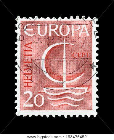SWITZERLAND- CIRCA 1966 : Cancelled postage stamp printed by Switzerland, that shows Europa CEPT stamp.