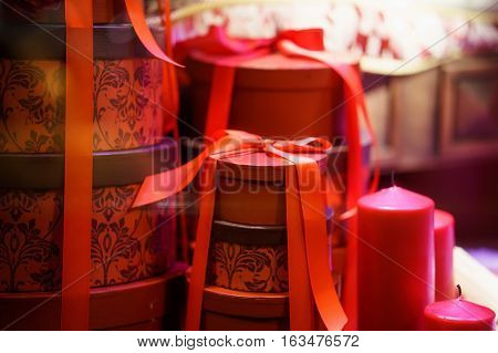 gifts in red box on christmas. clouse-up